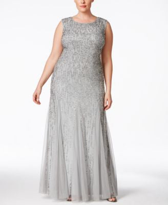 Adrianna Papell Plus Size Beaded Mermaid Gown