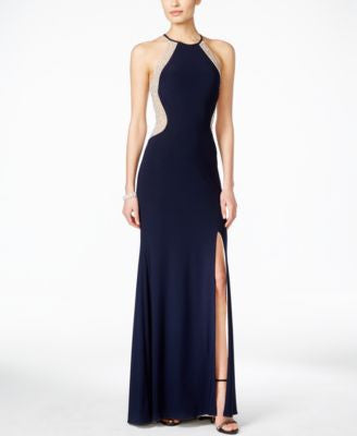 Xscape Dazzling Illusion Halter Gown