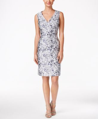 B Michael Floral Jacquard Sheath Dress