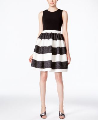 Calvin Klein Textured Striped Fit & Flare Dress