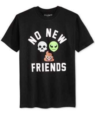 Bioworld Men's Emoji No New Friends Graphic-Print T-Shirt