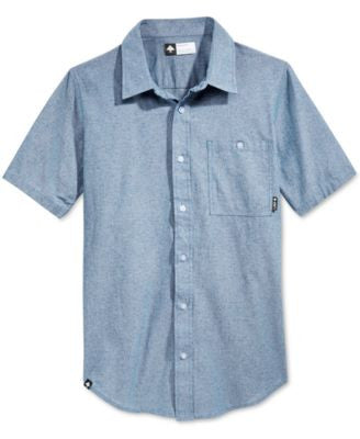 LRG Men's Defender Chambray Fleck Short-Sleeve Shirt