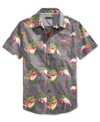 Ocean Current Men's Flamingo-Print Short-Sleeve Shirt