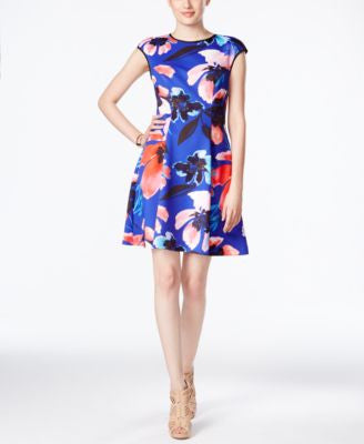 Vince Camuto Cap-Sleeve Floral-Print Dress