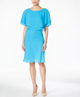 Tahari ASL Boat-Neck Popover Sheath Dress