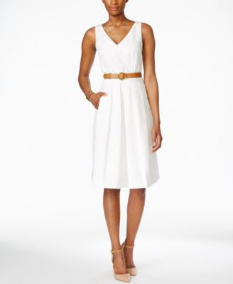 Tahari ASL Belted Textured A-Line Dress