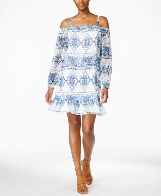 BCBGeneration Printed Cold-Shoulder Dress