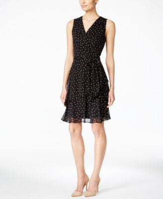 Tahari ASL Sleeveless Dot-Print Layered Dress