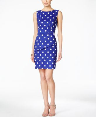 Connected Tiered Dot-Print Sheath Dress