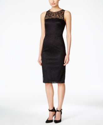 Jessica Simpson Sleeveless Lace Midi Sheath Dress