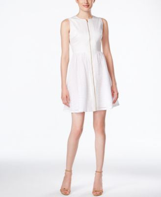Calvin Klein Sleeveless Zip-Front Eyelet Fit & Flare Dress