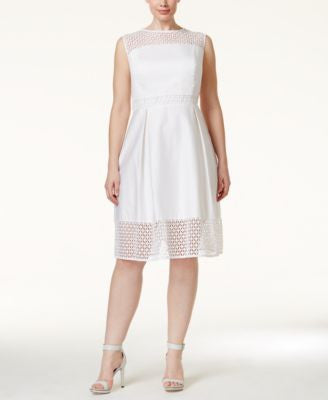 Calvin Klein Plus Size Crochet-Trim Fit & Flare Dress