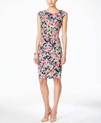 Connected Cap-Sleeve Floral-Print Gathered Sheath Dress