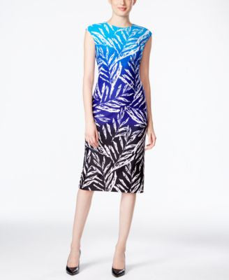 Vince Camuto Palm-Print Sheath Dress