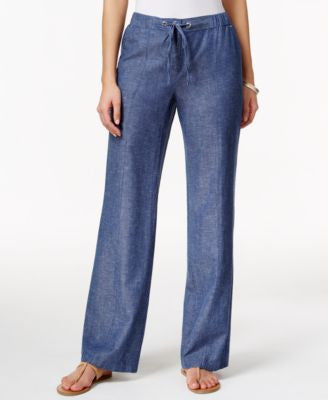 JM Collection Linen Chambray Drawstring Pants, Only at Vogily