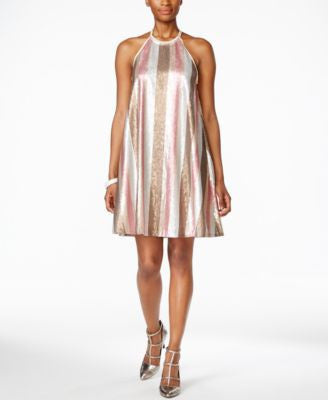 RACHEL Rachel Roy Sequin-Stripe Trapeze Dress
