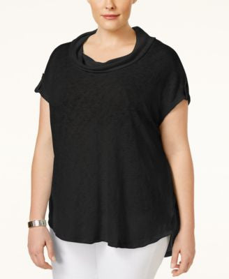 Style & Co. Plus Size Cowl-Neck Tab-Sleeve Top, Only at Vogily