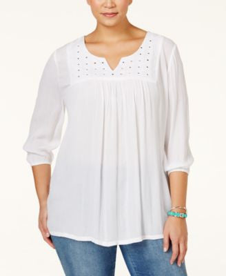 Style & Co. Plus Size Mirror-Embellished Peasant Top, Only at Vogily