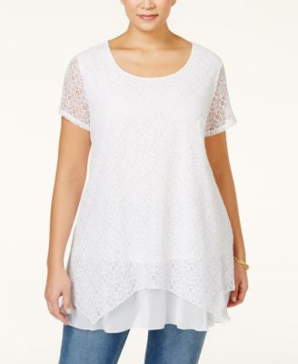 Style & Co. Plus Size Lace Handkerchief-Hem Tunic, Only at Vogily