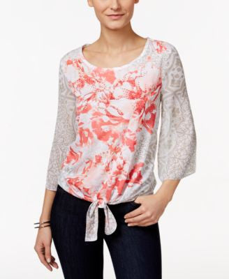 JM Collection Tie-Front Floral-Print Top, Only at Vogily