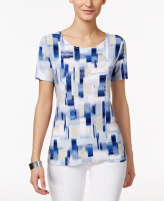 JM Collection Petite Short-Sleeve Printed Top, Only at Vogily