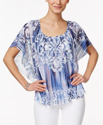 JM Collection Petite Printed Butterfly-Sleeve Top, Only at Vogily