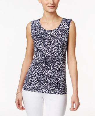 JM Collection Cheetah-Print Sleeveless Top, Only at Vogily