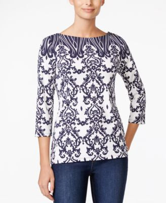 Charter Club Damask-Print Boat-Neck Top, Only at Vogily