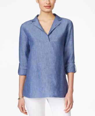Charter Club Linen Tab-Sleeve Tunic, Only at Vogily