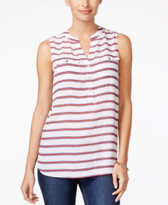 Charter Club Striped Sleeveless Top, Only at Vogily