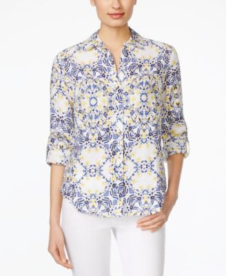 Charter Club Linen Floral-Print Shirt, Only at Vogily