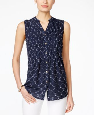 Charter Club Anchor-Print Sleeveless Blouse, Only at Vogily