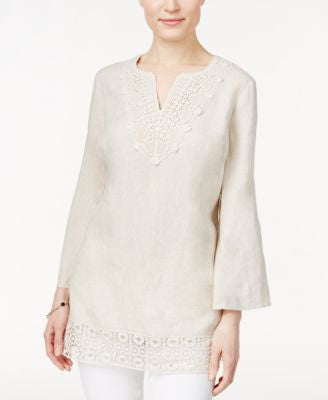 JM Collection Lace-Trim Linen Tunic, Only at Vogily