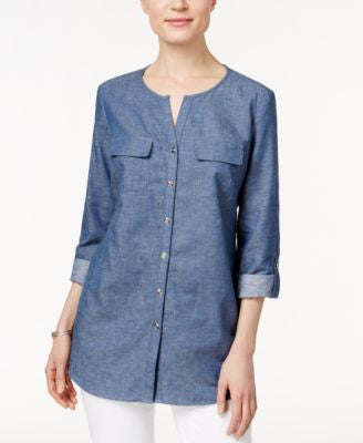 JM Collection Chambray Shirt, Only at Vogily