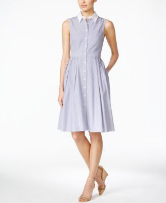 Jessica Howard Petite Sleeveless Striped Shirtdress