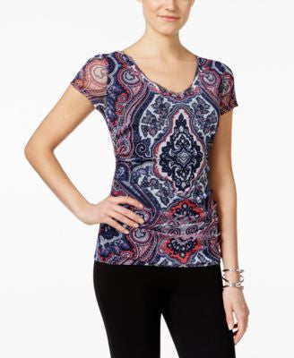 INC International Concepts Petite Printed V-Neck Top, Only at Vogily