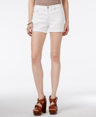 AG Cuffed White Wash Denim Shorts