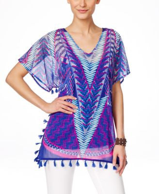 INC International Concepts Printed Tassel-Trim Cover-Up, Only at Vogily