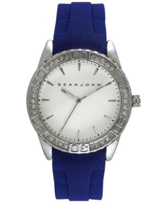 Sean John Men's Blue Silicone Strap Watch 48mm 10029416