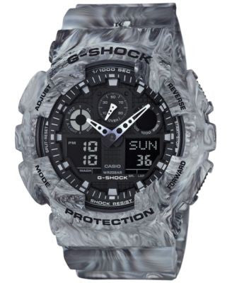 G-Shock Men's Analog-Digital Gray Marbled Strap Watch 55x51mm GA100MM-8A