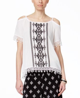 INC International Concepts Petite Embroidered Cold-Shoulder Peasant Blouse, Only at Vogily