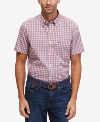 Nautica Men's Big & Tall Winkle-Resistant Gingham Short-Sleeve Shirt