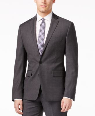 Ryan Seacrest Distinction Grey Solid Slim-Fit Jacket