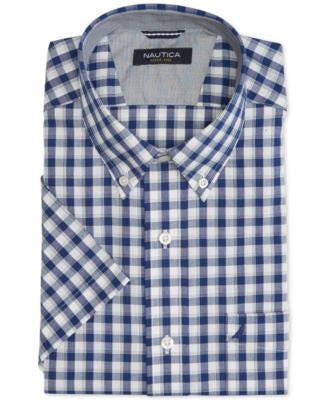 Nautica Men's Wrinkle-Resistant Blue Plaid Short-Sleeve Shirt