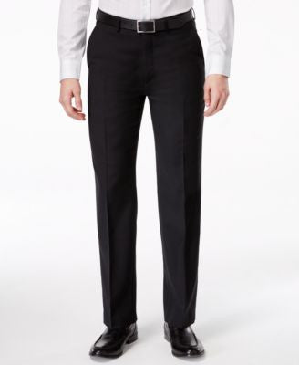 Ryan Seacrest Distinction Black Solid Slim-Fit Pants