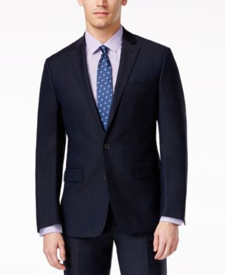 Ryan Seacrest Distinction Navy Solid Slim-Fit Jacket