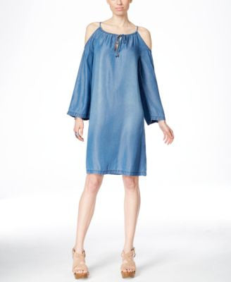 INC International Concepts Cold-Shoulder Chambray Shift Dress, Only at Vogily