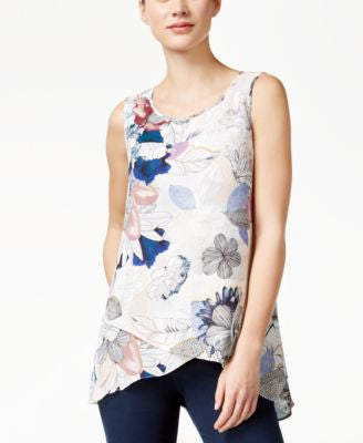 Cable & Gauge Printed Chiffon Crossover Asymmetrical Hem Top