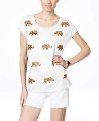 INC International Concepts Elephant Sequined T-Shirt, Only at Vogily