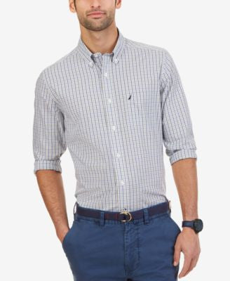 Nautica Men's Wrinkle-Resistant Marigold Plaid Shirt